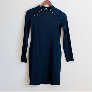 H&M navy military style ribbed dress - SMALL